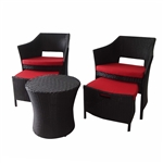 ALEKO RF03KO Indoor Outdoor Kokoli Rattan 5 Piece Furniture Set, Black Color Set with Red Color Cushions