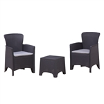 Rattan Wicker Furniture 3-Piece Indoor/Outdoor Table Set - Black with Grey Cushions - ALEKO