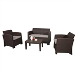 Lancaster Rattan Wicker Furniture 4-Piece Indoor Outdoor Coffee Table Set - Brown - ALEKO