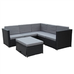 Rattan Wicker 4-PC Patio Sofa Set with Storage Footstool/Glass Table - Black with Gray Cushions - ALEKO