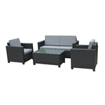 Rattan Wicker 4-Piece Indoor/Outdoor Comfortable Furniture and Table Set - Black with Gray Cushions - ALEKO