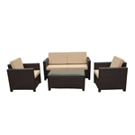 Rattan Wicker 4-Piece Indoor/Outdoor Comfortable Furniture and Table Set - Dark Brown with Sand Cushions - ALEKO