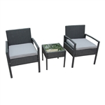Rattan Wicker Furniture 3-Piece Indoor/Outdoor Bistro Coffee Table Set - Black - ALEKO