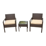 Rattan Wicker Furniture 3-Piece Indoor/Outdoor Bistro Coffee Table Set - Brown - ALEKO