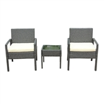 Rattan Wicker Furniture 3-Piece Indoor/Outdoor Bistro Coffee Table Set - Gray - ALEKO