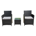 Rattan Wicker Furniture 3-Piece Indoor/Outdoor Coffee Table Set - Black - ALEKO