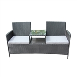 Rattan Wicker Indoor/Outdoor Dual-Seated Sofa with Coffee Table - Black - ALEKO