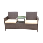 Rattan Wicker Indoor/Outdoor Dual-Seated Sofa with Coffee Table - Brown - ALEKO
