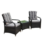 Rattan Wicker 3-Piece Indoor/Outdoor Back Cushion Furniture Set - Black - ALEKO