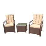 Rattan Wicker 3-Piece Indoor/Outdoor Back Cushion Furniture Set - Brown - ALEKO