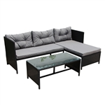 Rattan Wicker 3-Piece Indoor/Outdoor Sectional Furniture Lounge and Table Set - Black - ALEKO