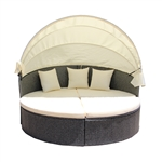 Rattan Wicker Furniture Outdoor Sectional Daybed Set with Retractable Canopy - Gray - ALEKO