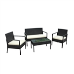ALEKO  RTFS7502BL Linosa Set Rattan Wicker Furniture 4-Piece Indoor Outdoor Coffee Table Set, Black