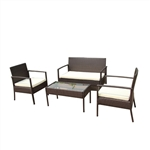 ALEKO  RTFS7502BRB Linosa Set Rattan Wicker Furniture 4-Piece Indoor Outdoor Coffee Table Set, Brown