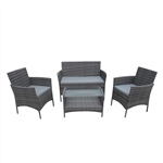 ALEKO    RTFS7505GR Caprera Set Rattan Wicker Furniture 4-Piece Indoor Outdoor Coffee Table Set, Gray