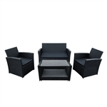 ALEKO RTFS7506BL Lipari Set Rattan Wicker Furniture 4-Piece Indoor Outdoor Coffee Table Set, Black