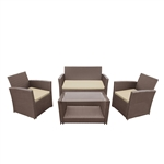 ALEKO RTFS7506BRB Lipari Set Rattan Wicker Furniture 4-Piece Indoor Outdoor Coffee Table Set, Brown