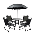 Rust Proof Steel 6-Piece Indoor/Outdoor Patio Furniture Set with Umbrella - Black - ALEKO