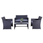Manhattan Rattan Patio Furniture Coffee Table Set -  4 Piece - Black Set with Grey Cushions - ALEKO
