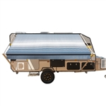 Retractable RV/Patio Awning - 15 x 8 Feet - Blue Striped - ALEKO