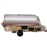 Retractable RV/Patio Awning - 20 x 8 Feet - Brown Striped - ALEKO