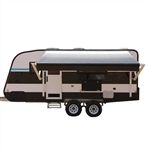 Motorized Retractable RV/Patio Awning - 12 x 8 Feet - White/Black Fade - ALEKO
