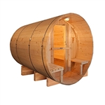 ALEKO SB5CEDARCP 5 Person Outdoor and Indoor Rustic Western Red Cedar Wet Dry Barrel Sauna with Front Porch Canopy and ETL Electrical Heater