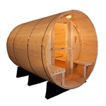 ALEKO SB6CEDARFP 6 Person Rustic Western Red Cedar Wet Dry Barrel Sauna with Front Porch Canopy and ETL Electrical Heater