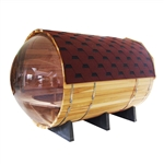 Red Cedar Wood Barrel Sauna with Transparent Wall for 7 People