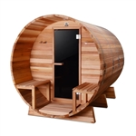 ALEKO SB8CEDARCP 8 Person Outdoor and Indoor Rustic Western Red Cedar Wet Dry Barrel Sauna with Front Porch Canopy and ETL Electrical Heater