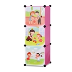 ALEKO SCAB01PK Whimsical Children's 3 Level Collapsible Play Time Themed Multipurpose Storage Organizer Cubes in Pink