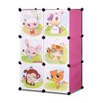 ALEKO SCAB03PK Whimsical Children's 3 Level 6 Cube Interlocking Multipurpose Animal Themed Storage Organizer in Pink
