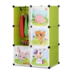 ALEKO SCAB04GR Whimsical Children's 6 Cube Interlocking Multipurpose Animal Themed Storage Organizer with Garment Rack in Green