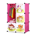 ALEKO SCAB04PK Whimsical Children's 6 Cube Interlocking Multipurpose Animal Themed Storage Organizer with Garment Rack in Pink