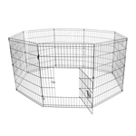 Small 8 Panel Dog Kennel - 24 Inches - Black - ALEKO