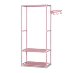 Portable Garment Clothes Organizer Rack with Shelves - 58 Inches Tall - Pink