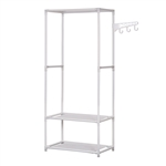 Portable Garment Clothes Organizer Rack with Shelves - 58 Inches Tall - White