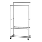 Portable Garment Clothes Organizer Rack with Shelves - 62 Inches Tall - Gray