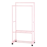 Portable Garment Clothes Organizer Rack with Shelves - 62 Inches Tall -Pink