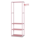 Portable Garment Clothes Organizer Rack with Shelves - 69 Inches Tall - Pink