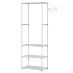Portable Garment Clothes Organizer Rack with Shelves - 69 Inches Tall - White