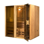 ALEKO STI4CED 4 Person Canadian Cedar Indoor Wet or Dry Steam Room Sauna with 6KW ETL Certified Heater