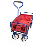 Multipurpose Folding Utility Wagon With Padded Handle - Red With Blue Frame - 150 Pounds - ALEKO