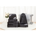 Travel Luggage Packing Pouches - 6 Piece - Black - ALEKO
