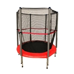 Mini Trampoline With Safety Net -  55 Inch - Black and Red - ALEKO