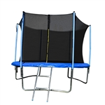 Trampoline with Safety Net and Ladder - 8 Feet - Black and Blue - ALEKO