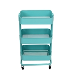 Lightweight Carbon Steel 3-Tier Rolling Utility Trolley Cart - Light Blue - ALEKO