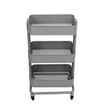 Lightweight Carbon Steel 3-Tier Rolling Utility Trolley Cart - Gray - ALEKO