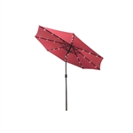 ALEKO UMB10L24BG 10 Ft (3 m) Solar  LED Lighted Tilting Patio Table Umbrella, Burgundy