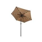 ALEKO UMB9L18TN 9 Ft (2.7 m) Solar  LED Lighted Tilting Patio Table Umbrella, Tan